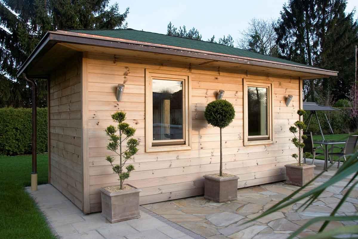 huisje in het bos met sauna